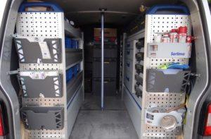 Inside the Wash Tech van