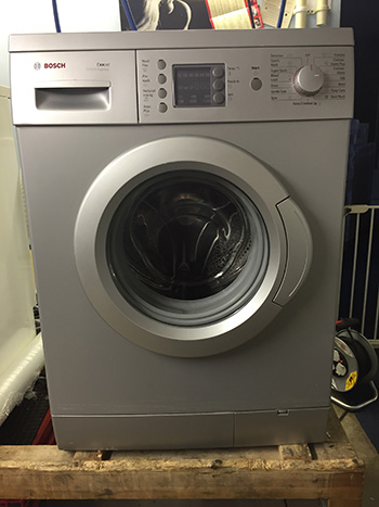 refurbished white washing machine
